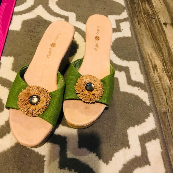 Lindsay Philip size 9 mule clogs wedge green